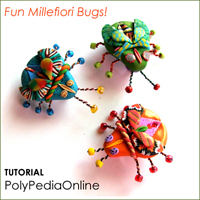 polypediaonline - polymer clay millefiori fun bugs tutorial