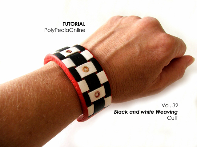 black and white weaving cuff techniques polymer clay tutorial