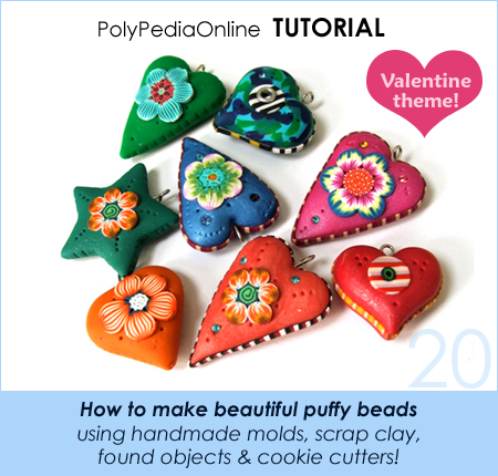 polymer clay millefiori tutorials polypediaonline heart puffy beads