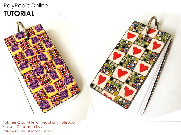 polypediaonline polymer clay tutorials millefiori canes notebook keychain